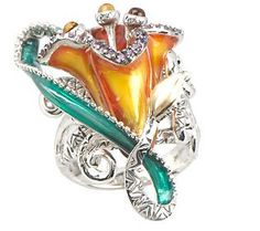 Barbara Bixby Sterling/18K Enamel & Gemstone Lily Ring