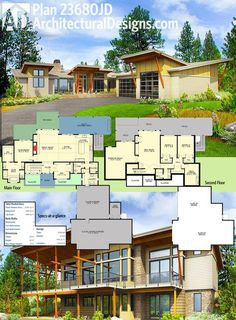 Architectural Designs Modern House Plan 23680JD gives you 4 beds spread across two levels (one the finished walkout lower level) and separate sun and covered decks in back. Ready when you are. Where do YOU want to build?