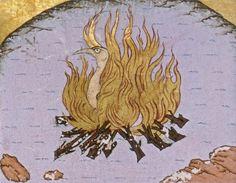 Simurg. küllerinden yeniden doğmak üzere alevler içinde. 'Sanat ve doğa harikaları'. (British Library, Londra. Harleian 5500)