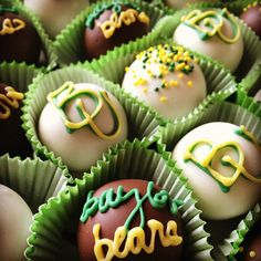 #Baylor cake balls! By Cake Ball Bakery in Dallas. #SicEm