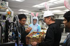 The JOIDES Resolution expedition science team impersonate Easter bunnies handing out chocolate. Easter Celebration, Celebrities, Blog, Celebs, Blogging, Celebrity, Famous People