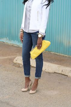 Gap boyfriend jeans and nude pumps