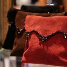 Clutch bags, suede stones handmade by Anat Gelbard