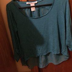 High low blue top 3/4 sleeve high low blue top with sheer back! American Rag Tops Tees - Long Sleeve