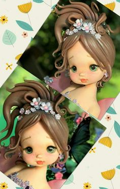 Best 12 Polymer Clay Dolls, Polymer Clay Flowers, Polymer Clay Projects, Polymer Clay Creations, Fondant Figures, Clay Figures, Arte Post It, Fairy Birthday Cake, Fondant Toppers