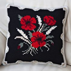 Details about Twilleys - Tapestry Cushion Front Kit - Poppies & Corn - Complete Kit Cross Stitch Cushion, Cross Stitch Bird, Cross Stitching, Cross Stitch Embroidery, Cross Stitch Patterns, Needlepoint Pillows, Needlepoint Kits, Tapestry Kits, Cross Stitch Pictures