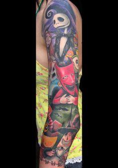 Nightmare before Christmas sleeve tattoo    #Tattoos  #Tattoo  #Tatts  #Tatt  #Tats  #Tat  #Inked  #Ink  #Body  Art