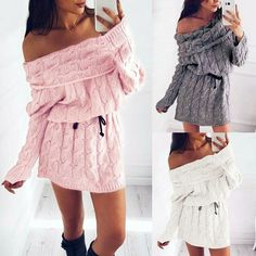 Damen Langarmshirt Minikleid Dress Kleid Pullover Sweatshirt Longshirt Gr S M 3