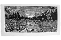 Yosemite Valley, a linocut print by Eric Rewitzer