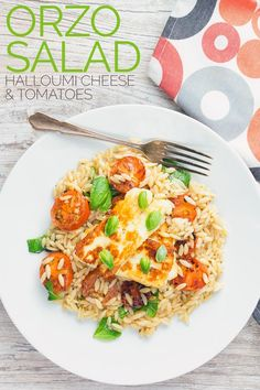 This super simple Orzo salad is both light and filling, featuring classic Mediterranean flavours like balsamic, tomato and basil it is topped with seared Halloumi cheese. The kicker is it is all done and dusted in less than 30 minutes! Italian Pasta Recipes, Best Pasta Recipes, Best Vegetarian Recipes, Vegetarian Cooking, Salad Recipes, Dinner Recipes, Dinner Ideas, Orzo Salad, Soup And Salad