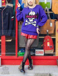 LISTEN FLAVOR/ Bandit Skull Jacquard Knit One-Piece http://www.cdjapan.co.jp/apparel/apparel_detail.html?KEY=NEOAPP-35208 #harajuku fashion #kawaii