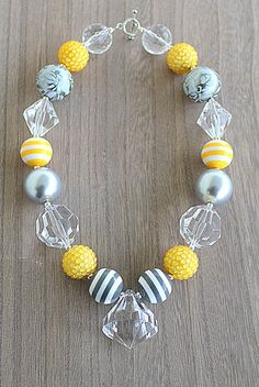 Gray and Yellow stripe chunky little girls necklace. $25.00, via Etsy.