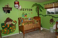 Kids Bedroom, Jungle Mural Inspiration for Kids Room Design Interior: Green Wall With Animals Picture And Wooden Cradle Jungle Room, Jungle Theme, Safari Thema, Beach Wall Decals, Wooden Cradle, Green Theme, Green Wallpaper, Kids Room Design, Daycare Design
