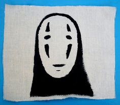 No Face From Hayao Miyazaki's Spirited Away Hand Printed Punk Patch