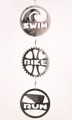 Triathlon Swim Bike Run Wind Chain Spinner by ShineOnSportyGirl, $65.00