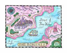 "Fairy Tale Map - East Princessia Original 8"" x 10"" Watercolor Fantasy Map"