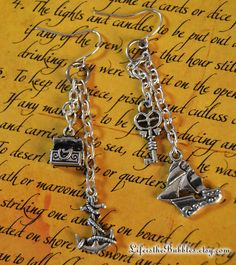 Pirate Jewelry Earrings / Treasure Chest Key by LifeistheBubbles