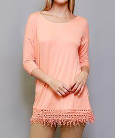 Look at this #zulilyfind! Coral Lace-Trim Tunic #zulilyfinds
