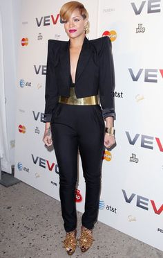 Rihanna in Alexandre Vauthier at the Vevo Launch Party