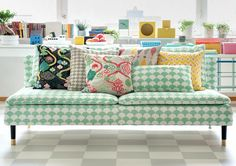 Child's play. Söderhamn 3 seater sofa cover in Big Waves Aqua from Littlephant. Cushion covers in Saga Forest Black/Multi, Waves Gray/Gray, Saga Forest Red/White, Harlequin Multi, Circus Yellow/White. www.bemz.com