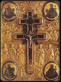 """Piece of the genuine Holy Cross in mount Athos, gift of Byzantine Emperors. This cross """"sweats"""" on its feast day."""