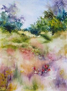 Peaceful nature, the blending of the brush strokes, the calm feel, and the way the painting comes together provides great harmony. #watercolorarts