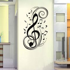 236 x 472 large music notes wall decals wall art decor removable stylish music notes wall - Music Wall Decor