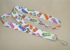 Flip Flops 4  Handmade fabric lanyard by doodlebugquilts on Etsy (Accessories, Lanyard, Id, keychain, id, fabric, handmade, flower, women, flikp flops, summer, sandels, sand, colorful)