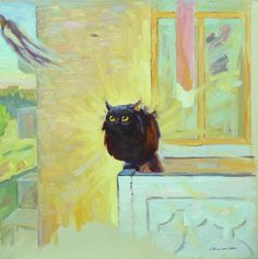 Cat And Swallow Painting by Ivan Kolisnyk - Fine Art Prints and Posters for Sale