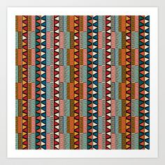 Strip ethnic seamless pattern Art Print by Rceeh - $13.52
