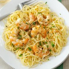 Shrimp Scampi Recipe Main Dishes with garlic cloves, butter, olive oil, uncook medium shrimp, peel and devein, lemon juice, pepper, dried oregano, grated parmesan cheese, dry bread crumbs, fresh parsley, angel hair