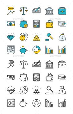 Finance Icon Set by The set contains 20 fully scalable vector icons with outline style. Features:Fully layered and fully editable Easy to change color Flat Design Icons, Web Design, Icon Design, Design Layouts, Vector Graph, Vector Icons, Banks Icon, Finance, Ui Patterns