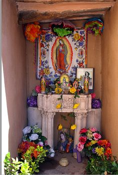 pretty & festive Our Lady of Guadalupe outdoor home altar / prayer space -- Mesilla, New Mexico