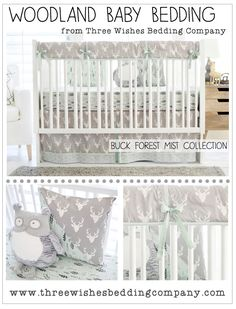Buck Forest in Mist Baby Bedding Collection from Three Wishes Bedding Co. The sweetest Woodland Deer inspired baby bedding you'll find! Gray and Mint baby bedding set for your woodland theme nursery. And see the unique feather-print crib sheet to help your little one settle into sweet dreams.