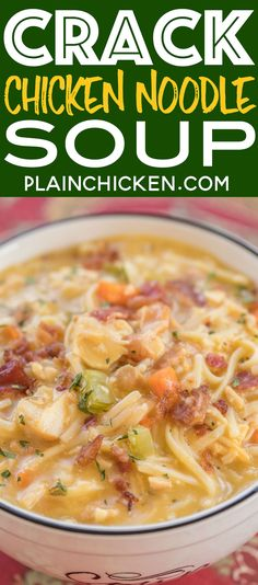 Crack Chicken Noodle Soup - Ready in 30 minutes! Chicken, cheese soup, milk, chicken broth, celery, carrots, ranch mix, bacon, cheddar cheese and egg noodles.
