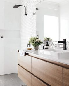 bathroom decor modern / bathroom decor _ bathroom decor ideas _ bathroom decor apartment _ bathroom decor ideas colors _ bathroom decor ideas on a budget _ bathroom decor modern _ bathroom decor ideas small _ bathroom decor ideas themes Bathroom Renos, Ensuite Bathrooms, Bathroom Renovations, Remodel Bathroom, Bathroom Bin, White Bathrooms, Bathroom Fixtures, Bathroom Furniture, Bathroom Vanity With Drawers