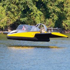 Hammacher Schlemmer gets both flighty and floaty with a winged hovercraft that can zip along at up to 70 mph.