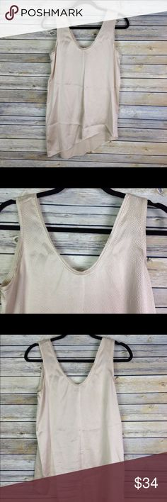 "Helmut Lang Gold Textured Asymmetric Top Sz Small Helmut Lang textured gold top with asymmetric hem. Size small.  93% Silk, 7% Elastane  Measurements while laid flat: Pit to pit: 17.5"" Shoulder to longest part of hem: 29""  (Inventory E5) Helmut Lang Tops Tank Tops"