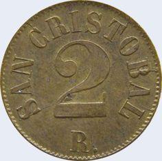 Pieza mt2r-aa01 (Reverso). Moneda del Estado Táchira. 2 Reales. Diseño A, Tipo A. Fecha 1872
