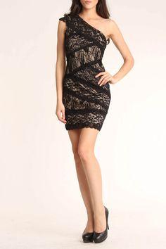 Issue NY Short One Shoulder Lace Dress In Black - Me encanta!!!!