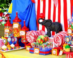 Circus Birthday - love the use of the jars and all the labels
