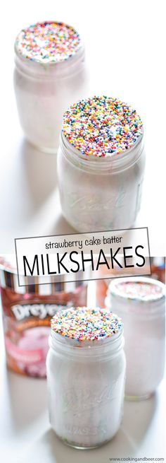 Strawberry Cake Batter Milkshakes: the perfect way to cool down this summer! | www.cookingandbeer.com
