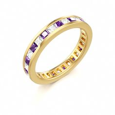 Amethyst Topaz Stackable Eternity Ring #gold #band