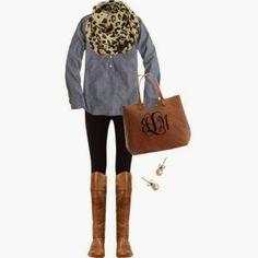 Jaguar skin designed scarf grey shirt wıth brown hand bag and pants