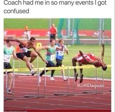 Lol track humor <<< Oof this is so accurate I've been in high jump, 4 by 4 by shotput, etc etc & all at different meets. Funny Posts, Funny Memes, Funny Stuff, Sport Motivation, Fitness Motivation, Funny Cute, The Funny, Running Humor, Bullshit