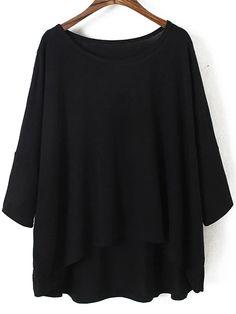 Dip Hem Bat Sleeve Black T-shirt 12.50
