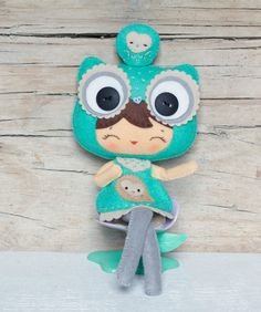 PDF. Owl girl with puppet. Plush Doll Pattern, Softie Pattern, Soft felt Toy Pattern.. $7.00, via Etsy.