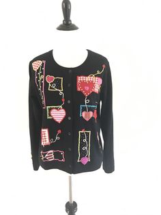 Jack B Quick S Cardigan Valentines Day Love Womens Top Sweater Sequin Novelty  | #valentinesweater