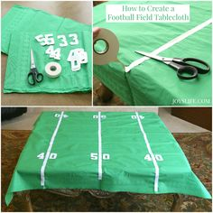 Create this DIY tablecloth in time for the big game! You won't want to watch the game without this football field decor. It's an simple craft that will make a great spot to lay out your game day party food.