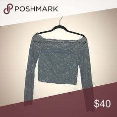 Free People Off the Shoulder Lacey Crop Top Periwinkle Free People Long Sleeve Off the Shoulder Lacey Crop Top Free People Tops Crop Tops